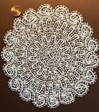 Handmade East Europe / Italian bobbin lace round centerpiece