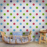 Big polka dots  colorful purple and green Home wall mural wallpaper