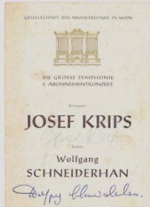 autographs conductor Josef Krips, solist Wolfgang Schneiderhan Vienna 1960