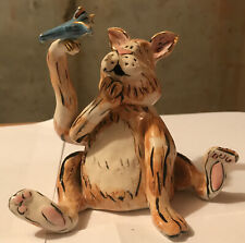 Blue Sky Clayworks Confused Ceramic Cat & Bird Figurine Music Box