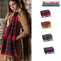 Beechfield Classic Check Scarf tassel trim - Warm winter layering accessory