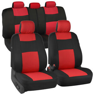 Red & Black Car Seat Covers Set 5 Headrests Full Solid Bench for Auto SUV - 9pc