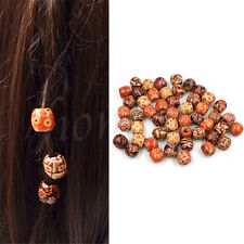 100Pcs Wooden Dreadlock Hair Beads for Braid Hair Extension DIY Jewelry Craft