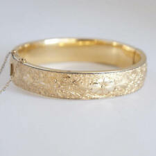 Antique Signed BB Binder Bros Stamped Gold 12 kt GF Bangle Bracelet Flower 1/20