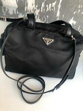PRADA Bauletto Bag black nylon with black leather trim & across the body strap