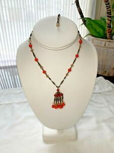 LIZ PALACIOS Antiqued Brass Crystal and Opaque Orange Coral Pendant Necklace