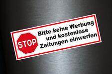 3 x Aufkleber Bitte keine Werbung und kostenlose Zeitungen einwerfen Briefkasten