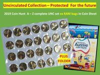 Aussie coin hunt  A-Z 26 x $1 unc coins PROTECTED coin sheet x RAM bag + FOLDER