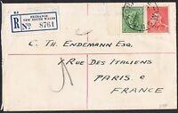 1938 4d koala p13½ x 14 + KGVI 2d die I on 1938 reg'd cover to France TS901