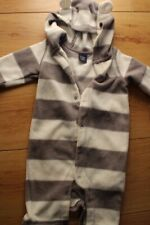 Baby Gap  fleece Bear Ear Hood Bodysuit - 3-6 months - grey white stripes