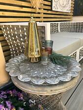 Vintage Moroccan Style Aluminium Decorated Round Floral Tray Tea Light Plate