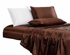 800 Tc Satin Silk Deep Pocket Scala Bedding Collection Chocolate All Us Sizes