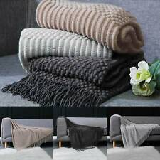 Chunky Luxury Knitted Blankets Tassel Throws Large Sofa Couch Bed Fringed Cover