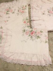 VANTONA BEDDING 2 SINGLE DUVET COVERS  1 X PILLOW CASE WHITE PINK FLORAL FRILLED