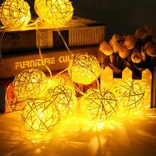 10er 20er LED Warm Kalt Weiß Bunt Batterie Lichterkette Kugel Stoff Rattan Ball
