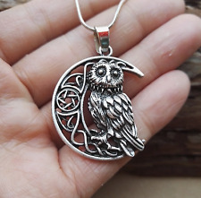 Celtic Wise Moon Owl Pendant Necklace