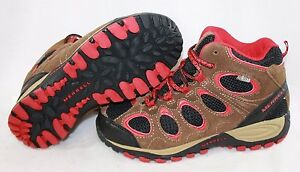 NEW Boys Kids Youth MERRELL Hilltop Ventilator Mid Brown Red Boots Sneaker Shoes