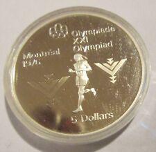 Canada Montreal Olympics 1976  Proof 5 Dollar  Silver Marathon 1975