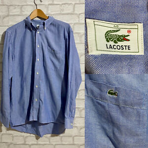 Lacoste Mens Vintage Shirt 40 MEDIUM Blue Regular Fit Striped Cotton