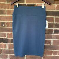NWT LuLaRoe Cassie solid color Blue pencil skirt Women's Size XS Regular