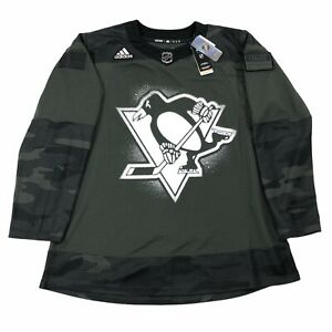 NEW Adidas Authentic PPE NHL Pittsburgh Penguins Camo Jersey Size 50
