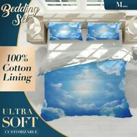 Sun Clouds Nature Sky Blue Quilt Cover Double Bed Single Queen King Size
