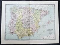 1870 George Philip Large Original Antique Map of Spain & Portugal