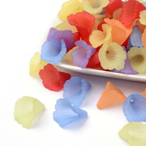 20pcs Mixed Transparent Acrylic Flower Beads Frosted Dyed diy Jewelry Findings