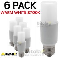 NEW 6 x MERCATOR 10W LED TUBULAR GLOBE E27 SCREW IN - WARM WHITE 2700K PACK LAMP