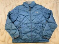 THE NORTH FACE WOMEN SIZE M DISTRESSED GOOSE DOWN BLUE FULL ZIP PUFFER JACKET