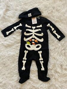 NWT Just One You Carter's Boys 6 Months Skeleton Bodysuit Halloween Outfit w Cap