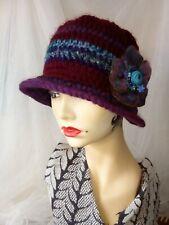 Ladies Burgundy/Purple Crochet Cloche/Bucket Hat, Peaky brim. Handmade