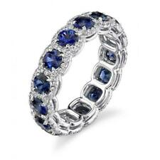 5ct Round Cut Blue Sapphire Cocktail Halo Full Eternity Band 14k White Gold Over