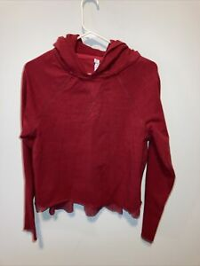 Lululemon Cropped Hoodie Red Cotton Loose Fit Pull Me Over Size 6