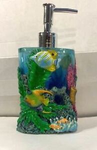 Lotion Dispenser- Hand Painted By David Miller- Blue Lagoon New W/Tag