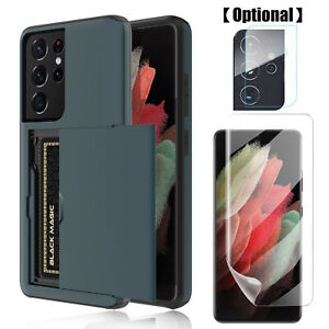 For Samsung Galaxy S21+ / S21 Ultra 5G Wallet Card Holder Case Screen Protector