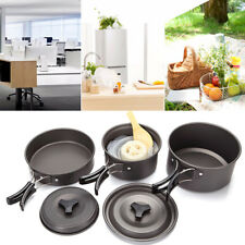 9pcs Camping Cookware Outdoor Backpacking Cooking Picnic Bowl Pot Pan Hiking
