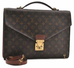 Authentic Louis Vuitton Monogram Porte Documents Bandouliere Briefcase LV A9798