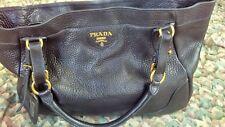 PRADA Milano Dal 1913 Black Pebbled-Grain Leather HOBO Shoulder Bag