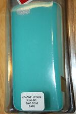APPLE IPHONE 5C MINI SLIM GEL TWO TONE CELL PHONE CASE BLUE/WHITE VERIZON BRAND