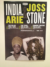INDIA. ARIE & JOSS STONE 2014 Australian Tour Poster Acoustic Soul Sessions *NEW