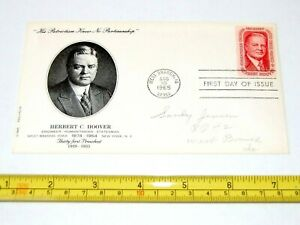 1965 HERBERT HOOVER FIRST ISSUE STAMP ENVELOPE pinback pin button political