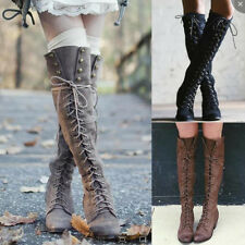 Women Lace up Knee Thigh high Boots Motorcycle Combat Riding Block Heel Shoes
