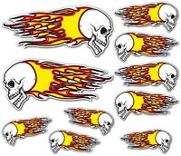 Totenkopf Flammen Aufkleber Set Motorrad Auto Bobber Chopper Hot Rod Gitarre