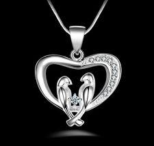 "Silver Love Heart Birds Charm Animal CZ Pendant Necklace 18"" Chain Gift Box I38"