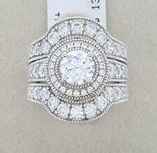Women Ladies Real Solid 925 Silver Soliatir CZ HALO Bridal Wedding Ring Band Set