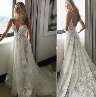 Sexy Backless Wedding Dress Spaghetti Lace Applique A Line Beach Bridal Gown Hot