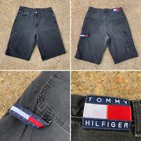 TOMMY HILFIGER - Vtg Baggy Black Denim Spellout Flag Jean Shorts, Mens 34