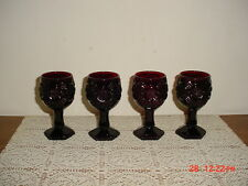 "4-PC AVON ""CAPE COD"" SMALL DEEP RUBY RED 3oz PEDESTAL 4 1/2"" GOBLETS/CLEARANCE!"