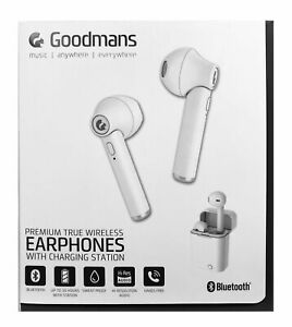 Goodmans Wireless Earbud Earphones - With Charging Station - White